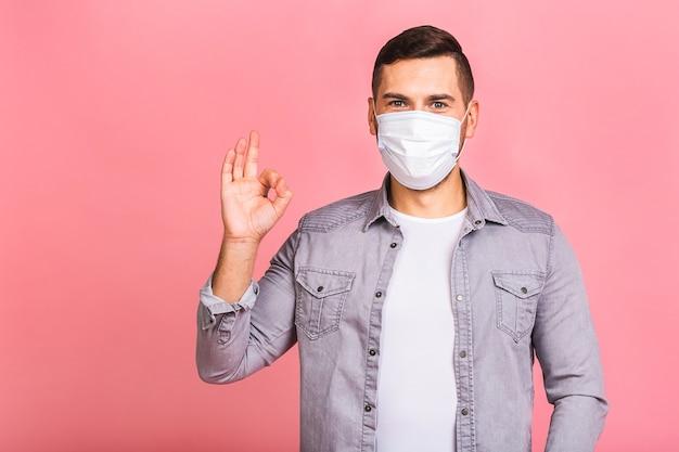 Mann, der hygienemaske trägt, um infektion, luftgetragene atemwegserkrankung wie grippe zu verhindern