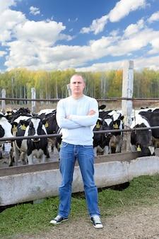 Mann, der kühe auf einer farm im freien füttert