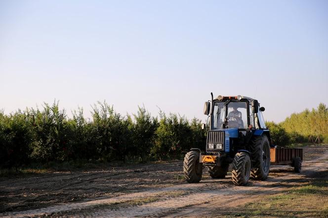 Mann, der traktor durch feld fährt