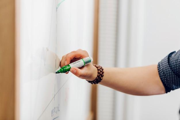 Mann hält marker stift schreiben auf whiteboard
