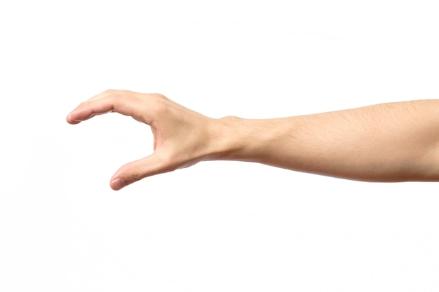 Mann hand isoliert. halten, greifen oder fangen