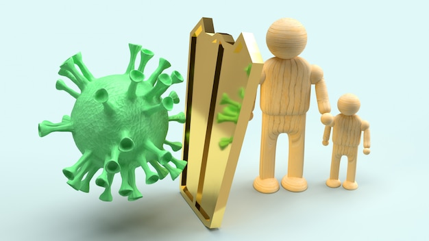 Mann holz und goldschild für schutzvirus, 3d-rendering.