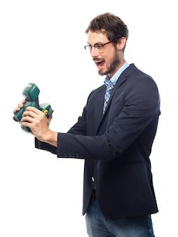 Mann im anzug, ein auto-foto