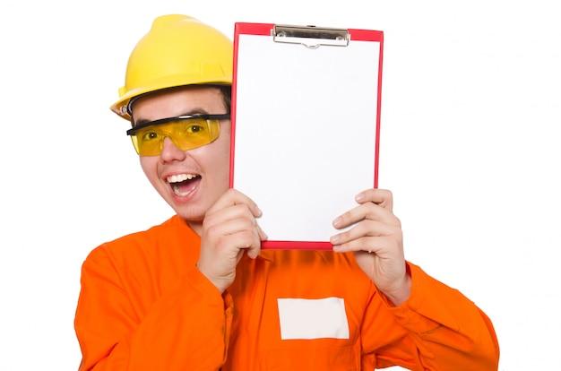 Mann im orange overall lokalisiert auf weiß