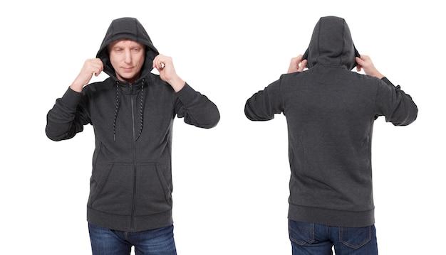 Mann im schwarzen hoodie vorne und hinten mock-up