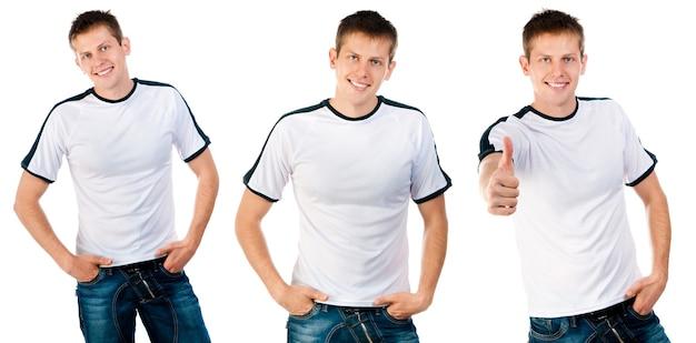 Mann im weißen t-shirt auf isoliert auf weißem hintergrund für ihr design