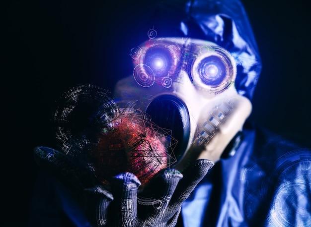 Mann in der gasmaske, die apfel hält nanotechnologie. schaffung neuer dinge. wissenschaftlicher fortschritt. strahlungseinfluss. umweltverschmutzung. ökologisches desaster.