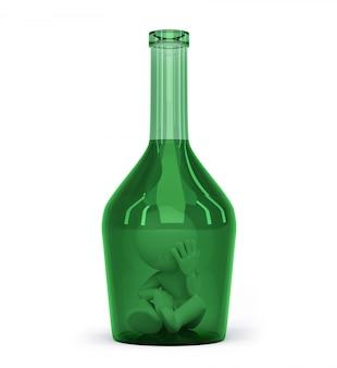 Mann in einer flasche. alkoholabhängigkeitskonzept