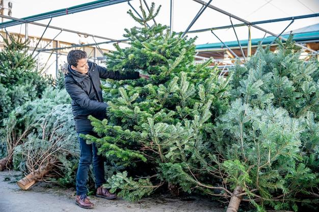 Mann kauft einen weihnachtsbaum in einem kaufhaus
