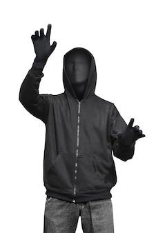 Mann mit anonymer maske berührt etwas