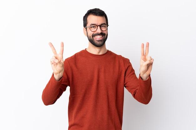 Mann mit der roten strickjackeaufstellung