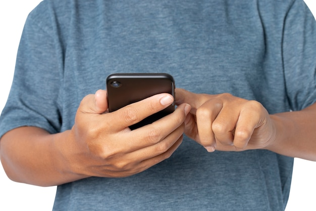 Mann mit einem mobilen smartphone.