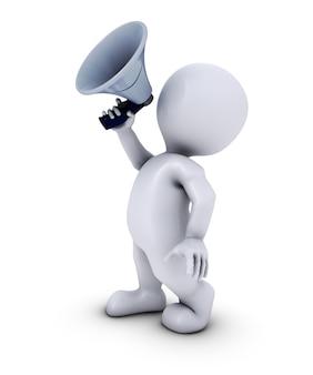 Mann mit einem weißen megaphon
