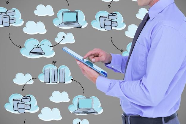 Mann mit einer tablette und wolken hintergrund symbole