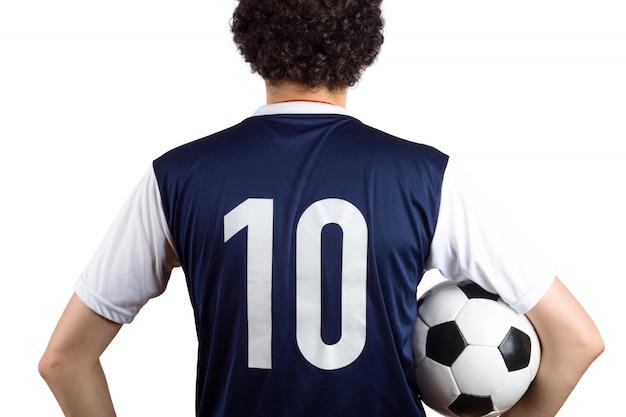 Mann mit fußballkugel.