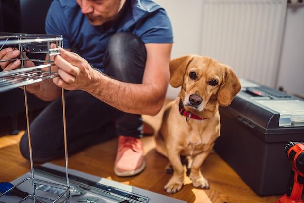 Mann mit hund, der küchenschränke errichtet