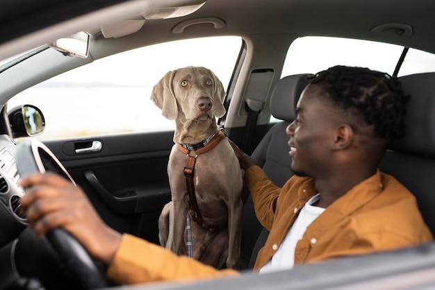 Mann mit mittlerem schuss, der mit hund fährt
