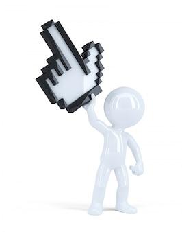 Mann mit riesigem pixelzeiger