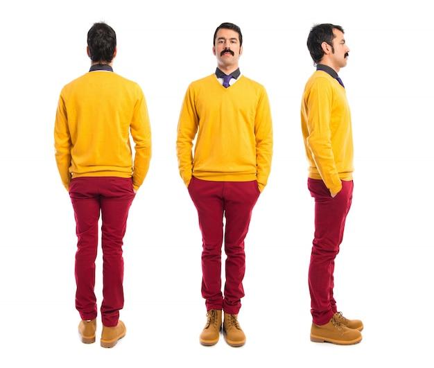 Mann mit schnurrbart vorne, hinten und seitlicher position