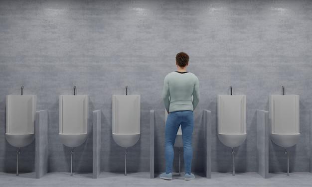 Mann pinkelt in einer bequemen position urinale in einer langen reihe 3d-rendering