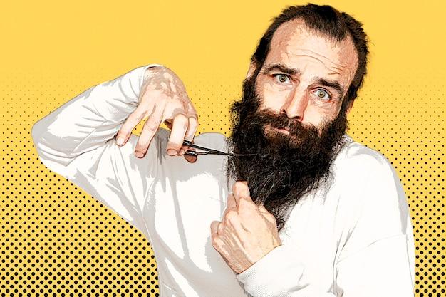 Mann schneidet seinen bart im pop-art-stil
