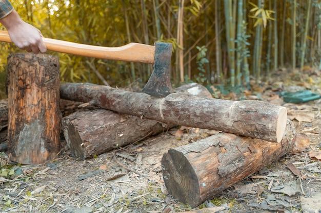 Mann schnitt mit axt staub und bewegungen holzfäller sägt baum mit kettensäge auf sägewerk holzfäller