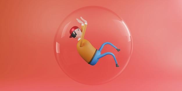Mann schwebt in einer großen glaskugel