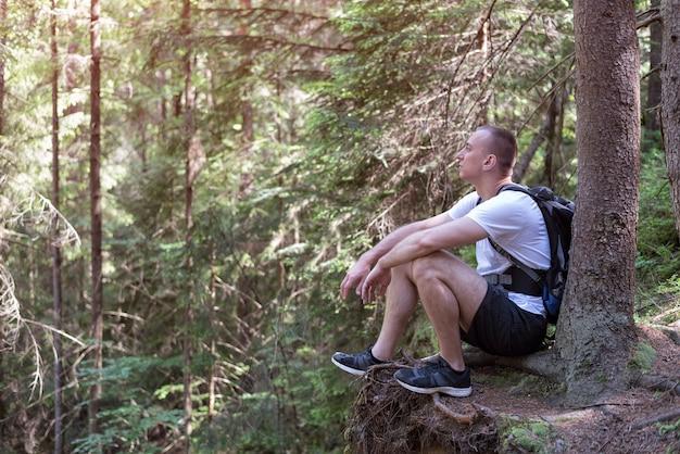 Mann sitzt in einem nadelwald auf einer klippe