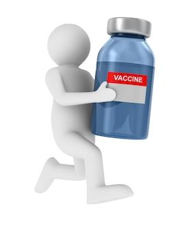 Mann tragen impfstoff von covid-19 auf weiß.