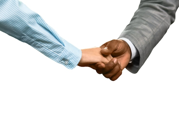 Mann und frau, die sich die hände schütteln. willkommen im unternehmen. ein angenehmes treffen. zeichen des respekts.