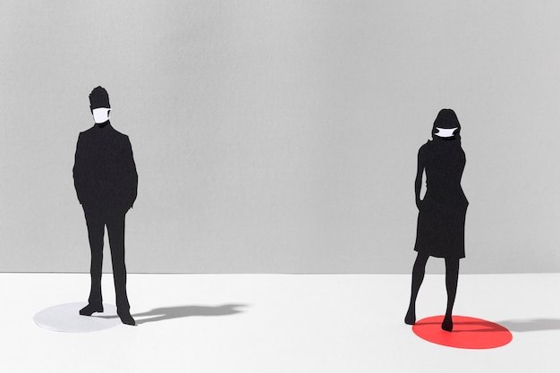 Mann und frau mit medizinischen masken zum schutz vor coronaviren
