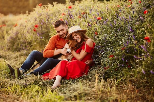 Mann und frau sitzen mit einem lustigen spürhund auf dem grünen feld mit roten mohnblumen