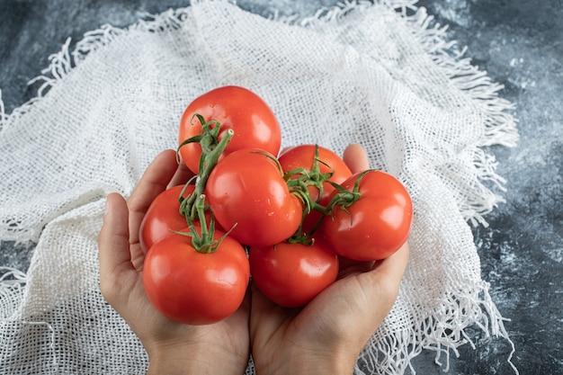 Mannhände, die einen bündel tomate auf bunt halten.