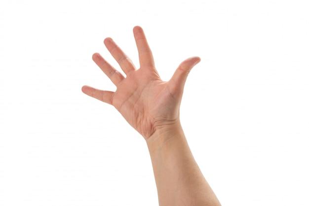 Mannhand, die fünf finger lokalisiert auf weißem hintergrund zeigt.