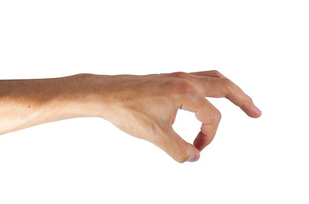 Mannhand, die lokalisiert auf weiß aufhebt