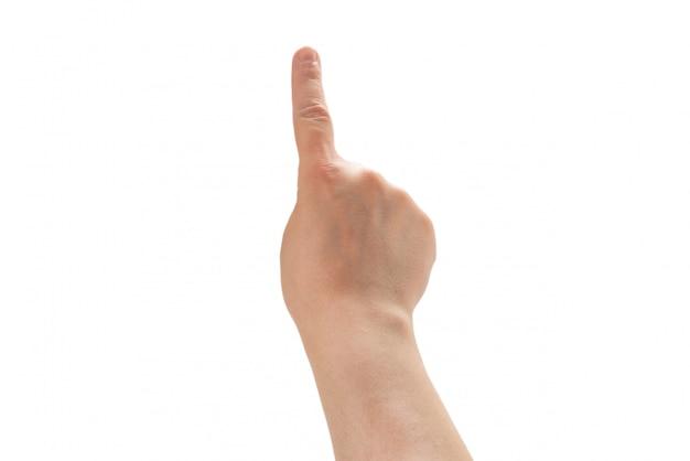 Mannhand, die lokalisiert auf weißem hintergrund zeigt oder berührt.