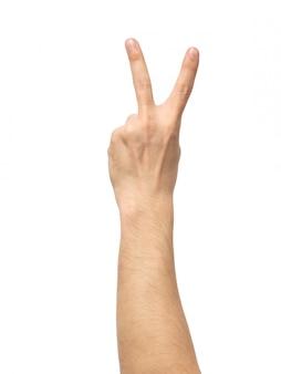 Mannhand, die siegeszeichen lokalisiert zeigt