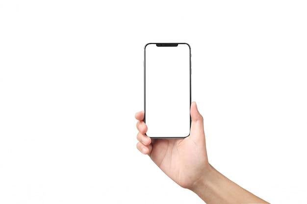 Mannhand, die smartphonegerät und touch screen hält