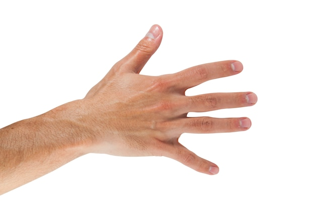 Mannhand, die zählung fünf zeigt.