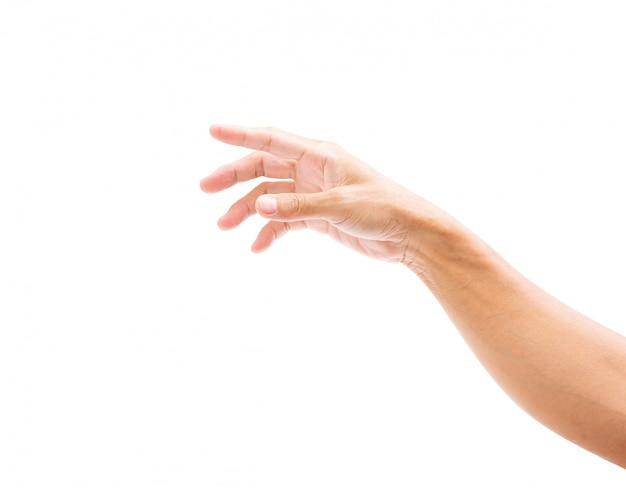 Mannhand getrennt auf weißem hintergrund