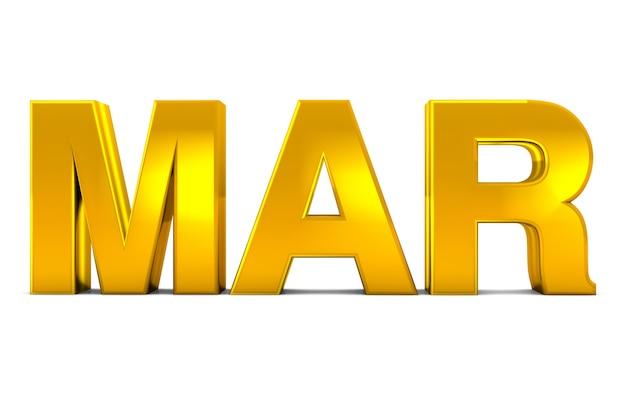 Mar gold 3d text märz monat abkürzung isoliert auf weißem hintergrund 3d rendern.