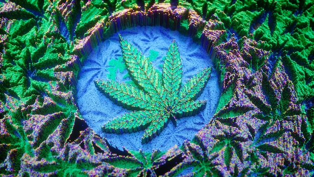 Marihuana hintergrund. cannabisblatt im digitalen kunststil. kräuter, 3d-illustration. marihuana banner, poster oder flyer design.