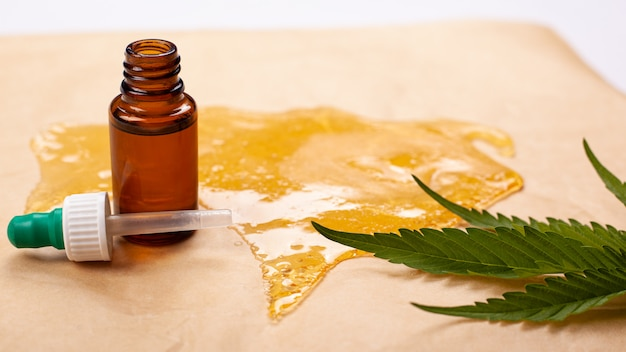 Marihuana-wachstinktur, medizinisches hanföl, hoher thc-gehalt.