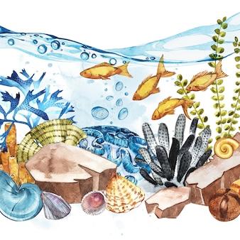 Marine life landscape - das meer und die unterwasserwelt mit verschiedenen bewohnern.