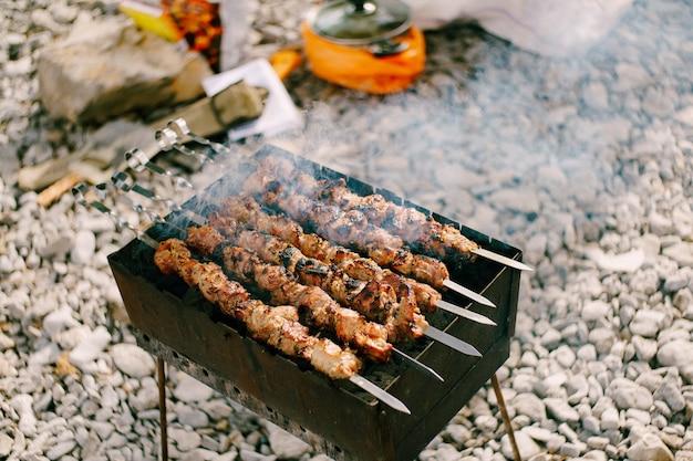 Marinierter schaschlik, der auf einem grill über holzkohle mit rauch zubereitet