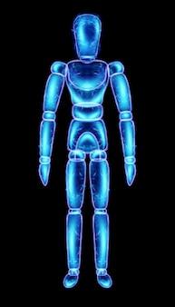 Marionettenpuppe neon-hologramm auf schwarzem hintergrund isoliert, 3d-darstellung, 3d-rendering.