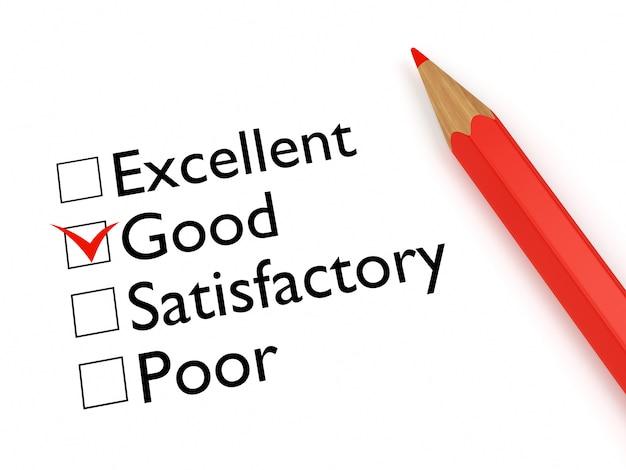 Mark good: bewertungsbogen und bleistift