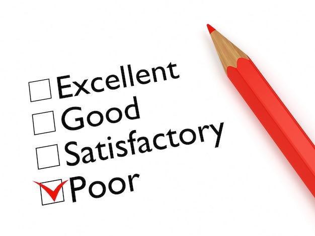 Mark poor: bewertungsbogen und bleistift