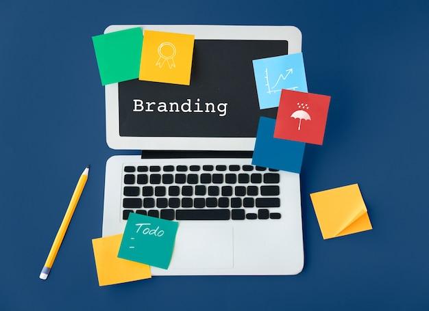 Marketing branding kreativität geschäftswerte
