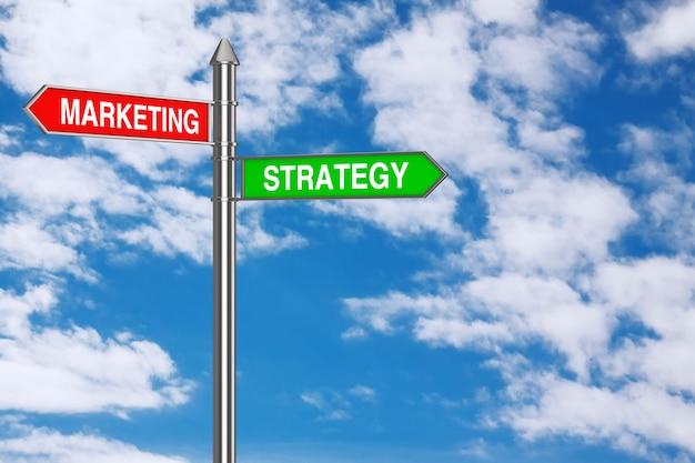 Marketing und strategie richtungspfeile straßenschild auf blauem himmelshintergrund. 3d-rendering
